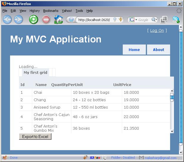 JQuery jqGrid Export to Excel Using ASP NET MVC Framework